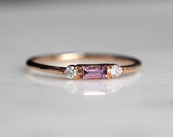 14K Pink Sapphire Baguette Ring, Three Stone Ring, Stacking Ring, Rectangle Stone, Sapphire Diamond Ring, Pink Stone Ring, September