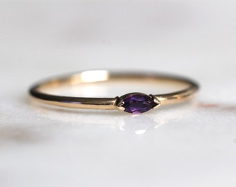 "14K Gold Marquise Amethyst Ring, ""Wink"" Ring, Stacking Ring, Dainty Ring, Midi Ring, Promise Ring, Purple Stone Ring, February Birthstone"