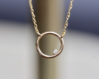 14K Open Circle Diamond Necklace, Round pendant Necklace, Layering Necklace, April Birthstone, Asymmetrical Necklace
