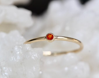 14K Gold Tiny Mexican Fire Opal Ring