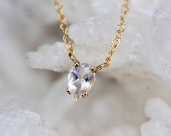 14K Pear Moonstone Necklace
