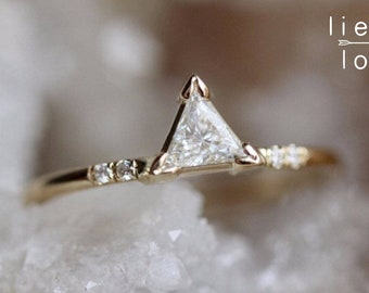 14K Gold Triangle Diamond Ring