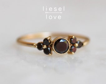 14K Gold Black Diamond Cluster Ring