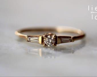 """14K Gold Diamond """"Heirloom"""" Engagement Ring"""