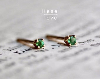 14K Gold Tiny Emerald Studs