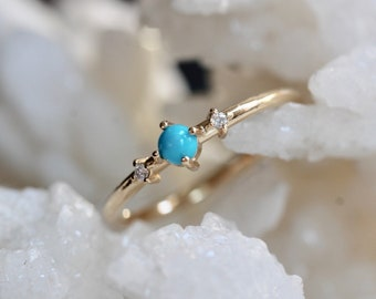 14K Gold Turquoise Diamond Ring