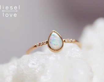 "14K Gold Opal Pavé Diamond ""Dewdrop"" Ring"