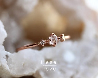 "14K Gold Rose Quartz & Diamond ""Moonlight Drive"" Ring"