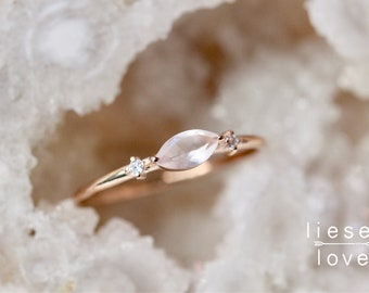"14K Gold Rose Quartz Diamond ""Shimmer"" Ring"