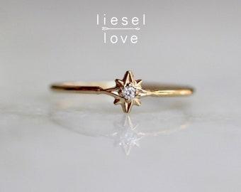 "14K Gold Diamond ""North Star"" Ring"