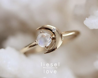 "14K Gold Moonstone Diamond ""Moon of My Life"" Ring"