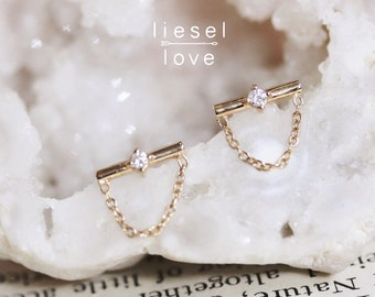 "14K Gold Diamond Chain ""Leo"" Studs"