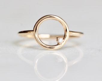 14K Open Circle Ring