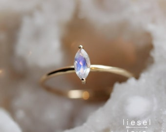 "14K Gold Marquise Moonstone ""Glow"" Ring"