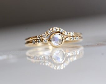 14K Gold Moonstone Diamond Set, Rosecut Moonstone, Diamond Band, Rainbow Moonstone Engagement Set, Matching Set, Wedding Set, Dainty
