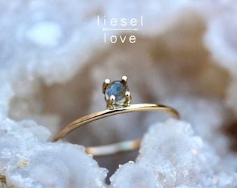 "14K Gold Labradorite ""Dove"" Ring"