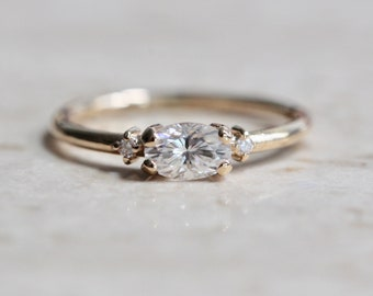 14K Gold East West Moissanite Ring