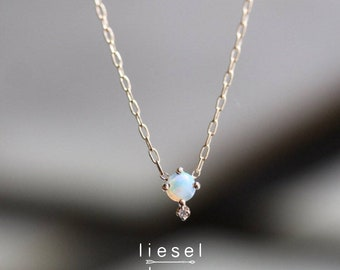 "14K Gold Opal Diamond ""Love Drop"" Necklace"