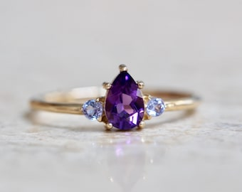 14K Gold Amethyst Tanzanite Pear Ring