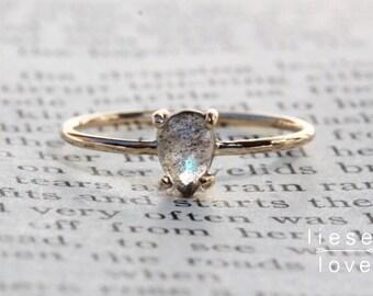 """14K Gold Pear Labradorite """"Spectrum"""" Ring"""