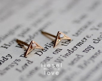 14K Gold Diamond Chevron Earrings