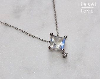 14K Gold Princess Moonstone Diamond Necklace