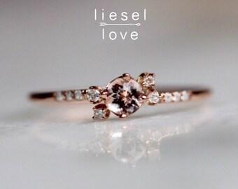 "14K Gold Diamond Morganite Cluster ""Liesel"" Ring"