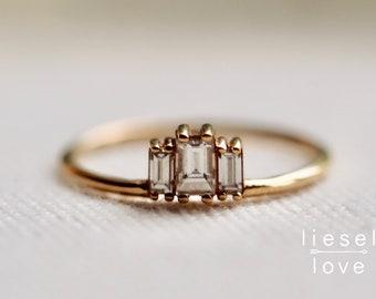 """14K Gold Baguette Diamond """"Empire"""" Ring"""