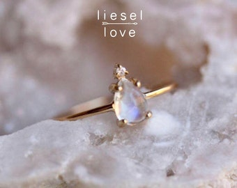 "14K Gold Pear Moonstone & Diamond ""Unicorn Tears"" Ring"