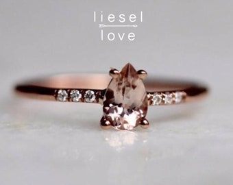 "14K Gold Pear Morganite Solitaire ""Rosé All Day"" Ring"