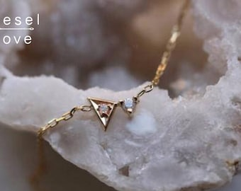 "14K Gold Triangle Diamond ""Arrow Points Bling"" Necklace"