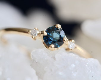 14K Gold Blue Sapphire Diamond Ring, Blue Stone Ring, Engagement Ring, Dainty Ring, Self Love Ring, Promise Ring, Three Stone Ring