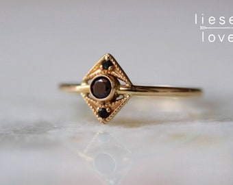 "14K Gold Black Diamond ""Zelda"" Ring"