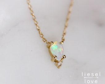 "14K Gold Opal Diamond ""Unicorn Tears"" Necklace"