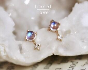 """14K Moonstone & Diamond """"Love Drop"""" Earrings"""
