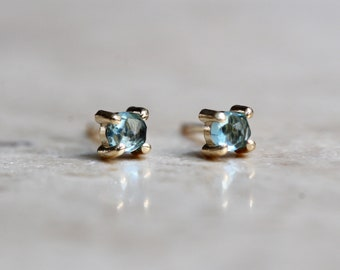 14K Gold London Blue Topaz Studs