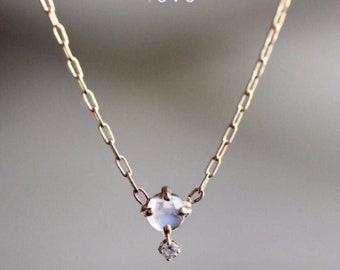 "14K Gold Moonstone Diamond ""Love Drop"" Necklace"