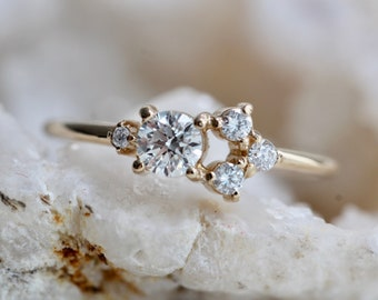 14K Gold Diamond Cluster Ring, Multi Diamond Ring, Unique Engagement Ring, Mixed Size Stones, Minimal Design