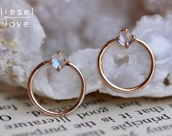 14K Gold Moonstone Loop Studs