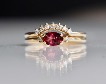 14K Gold Rhodolite Garnet Diamond Bridal Set