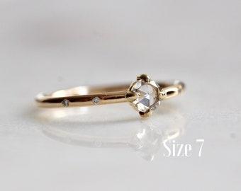 "14K Gold Rosecut Diamond Engagement Ring, ""Sun & Moon"" Ring, Engagement Ring, Astrology Ring, Dainty Engagement Ring, Ready to Ship"