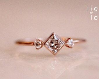 "14K Gold Large Princess Cut Diamond ""Deco"" Ring"