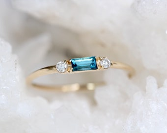 14K London Blue Topaz Baguette Ring