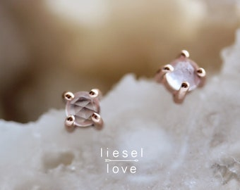 14K Gold Rose Quartz Studs
