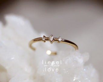 "14K Gold Three Stone Diamond ""Snow Dance"" Ring"