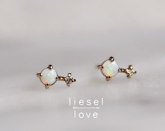 "14K Gold Opal Diamond ""Love Drop"" Earrings"