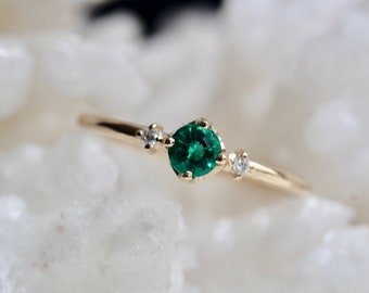 14K Gold Emerald Diamond Ring, Chatham Emerald Ring, Engagement Ring, Dainty Ring, Green Stone Ring, Promise Ring, Three Stone Ring