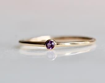 14K Gold Tiny Amethyst Ring