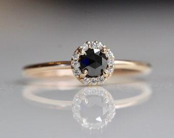 14K Gold Black Diamond Halo Ring
