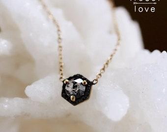"14K Gold Salt & Pepper Diamond ""Victoria"" Necklace"
